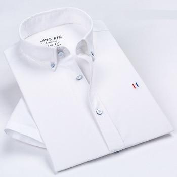 Aoliwen 2019 men Men Brand Oxford Short Sleeve Shirt Solid color stripes Slim fit 100