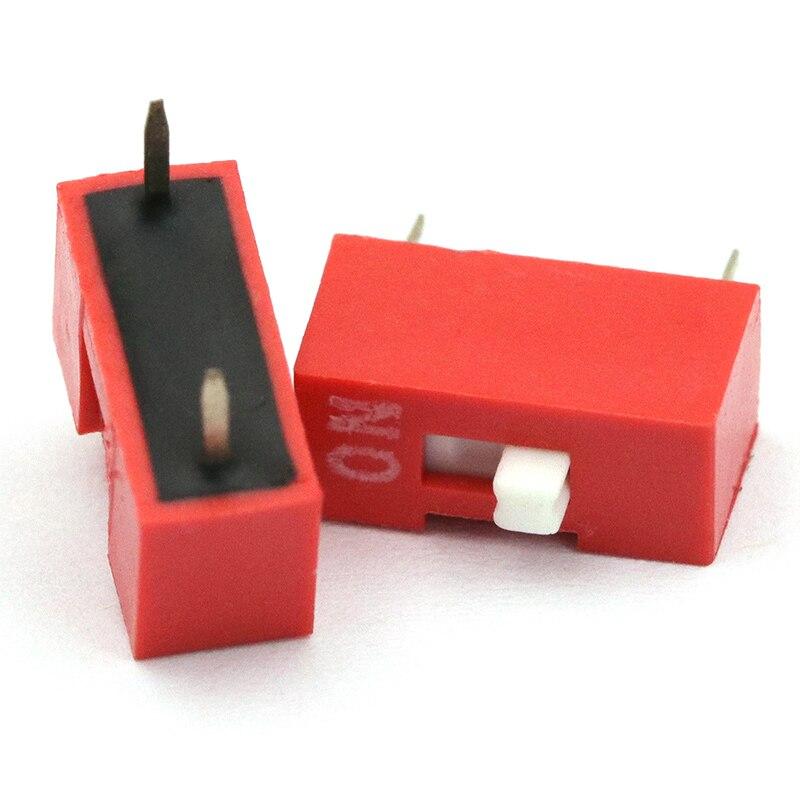 DIP-переключатель/DIP/2,54 шаг/1bit/1 P (красный-позолоченные) (10 шт./лот)