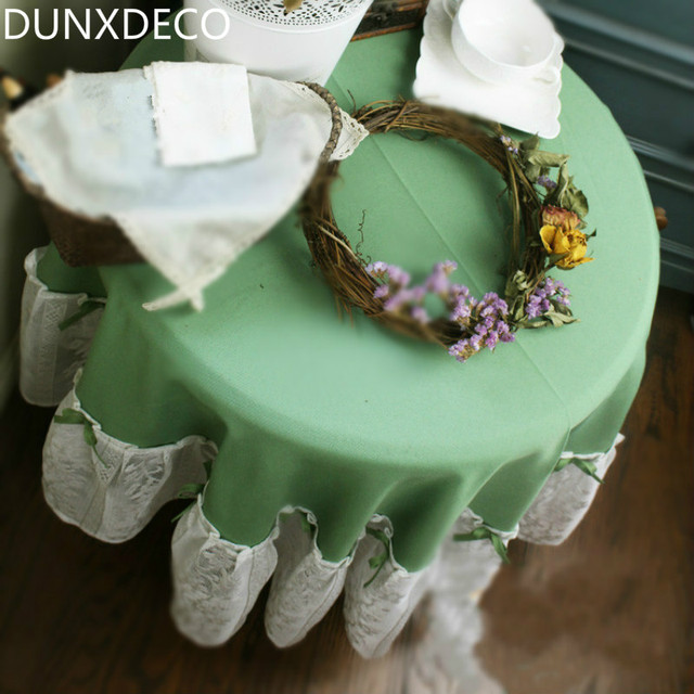 DUNXDECO Round Table Cloth Cotton Table Cover Lace Border Romantic  Tablecloth Vintage Green Country Style Home