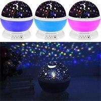 1 pz Vendita Calda New Girante LED Sky Star Moon rotazione di Notte Luce Del Proiettore Lampada di Proiezione di Qualità Affidabile Per Il Natale regalo