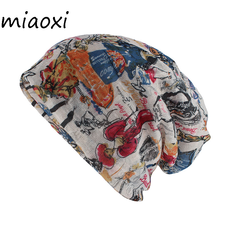 Miaoxi New Style Floral Women Hat Fashion Summer Rayon Beauty Beanies Skullies Adult Girl's Gorros Double Used Hats Scarf Sale