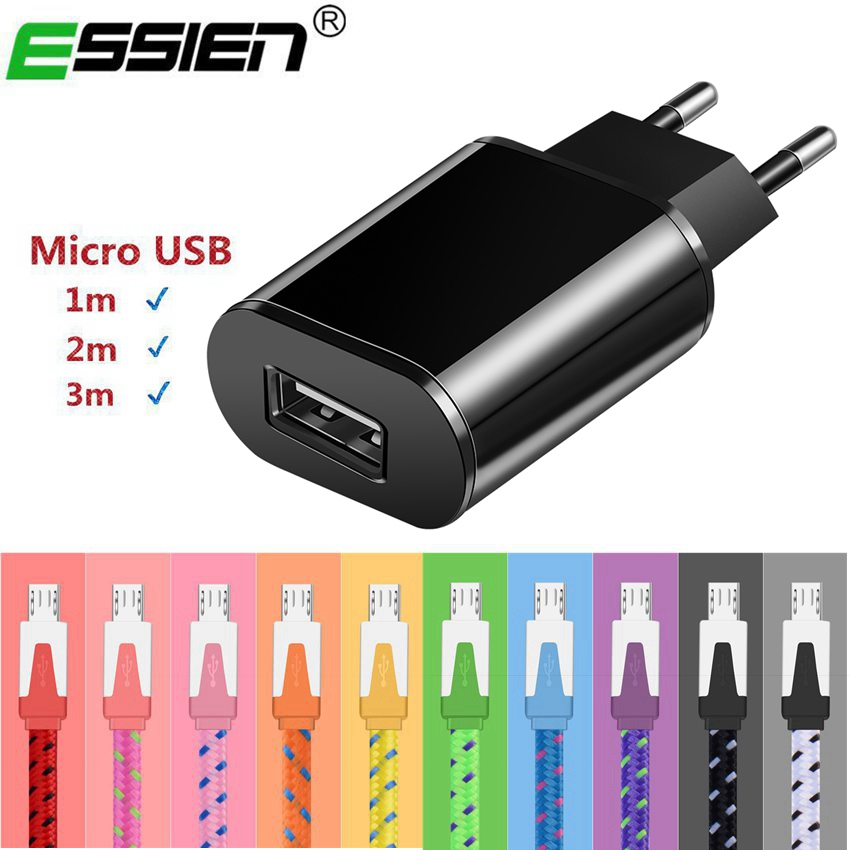 Essien Universal USB Charger Smart Mobile Phone Charger Travel Charging Adapter for Samsung Xiaomi Micro USB/for iphone cab