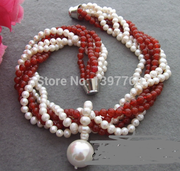 Miss charm Jew.141 Excellent! 6Strds Pearl&Carnelian Necklace