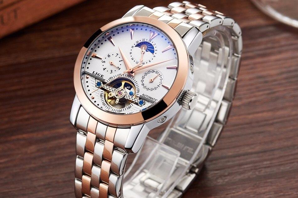 2016 Men Watches Luxury Top Brand LIGE Sport Mechanical Watch Gold Clock Men Tourbillon Automatic Wristwatch With Moon Phase