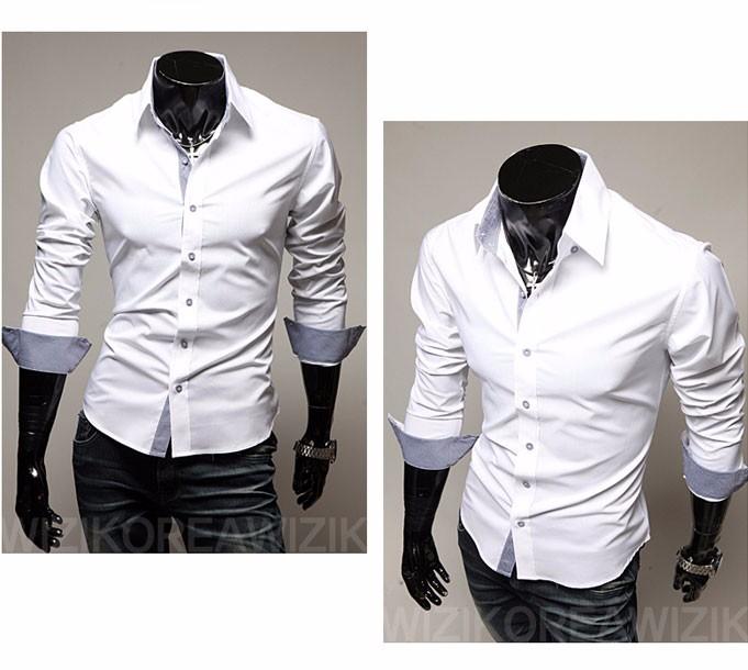 Mens Casual Shirts 2016 Hot Sale Mens Slim Fit Dress Long Sleeve Shirts Soild Male Social Shirts Designer Chemise Homme 3XL 25 9
