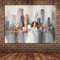 Modern Landscape New York Bridge Hand Painted Canvas Oil Painting Abstract City Building Wall Picture for Living Room