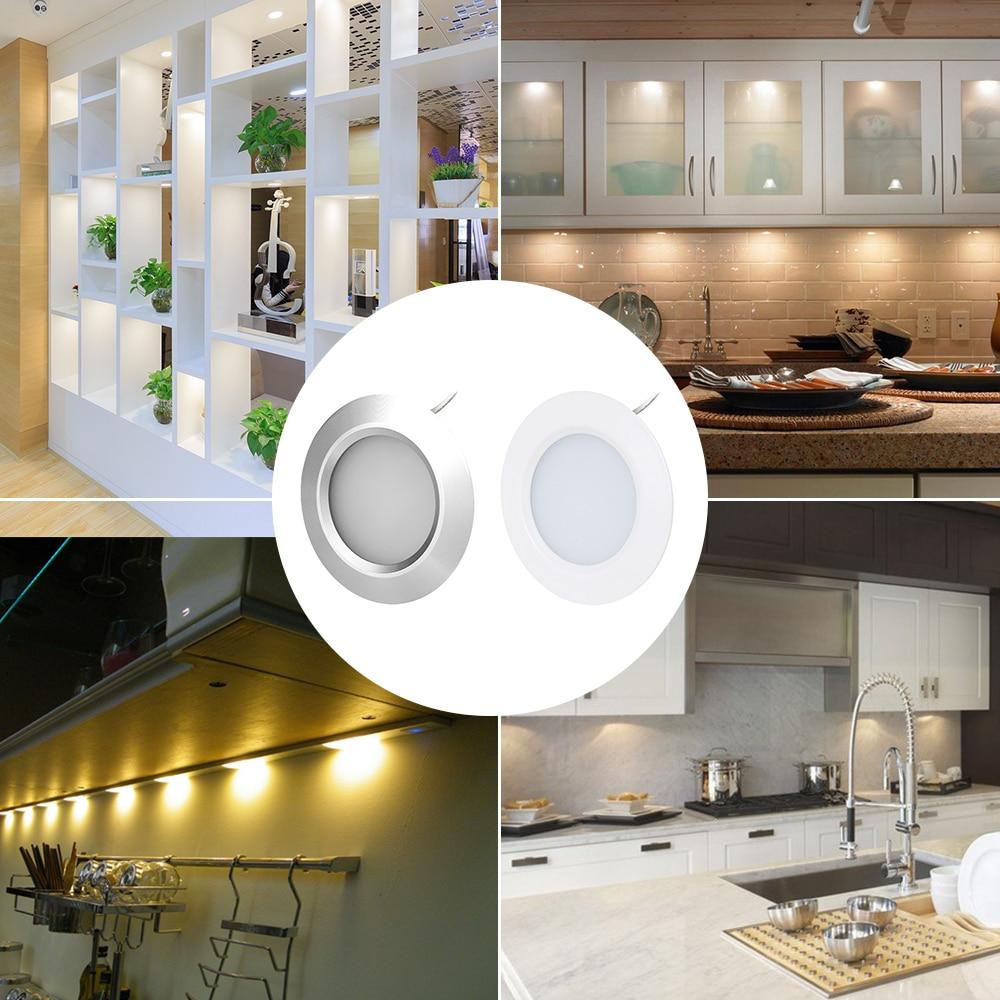 3 W LED sous comptoir lumière ronde forme Puck lampes meubles de cuisine armoire bibliothèque armoire étagère éclairage vitrine lampe - 6