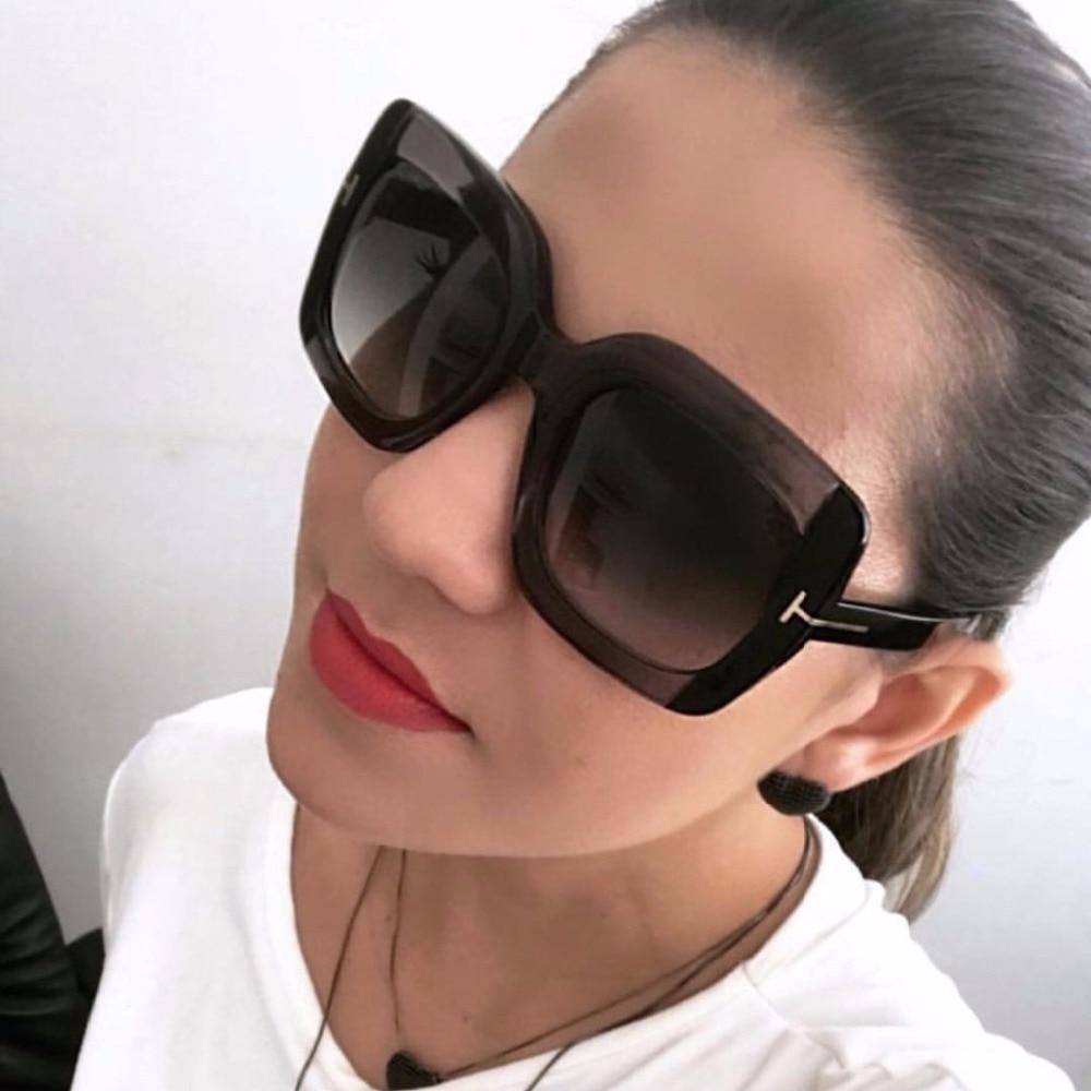 1627c082441cb Moda Oversize Óculos Quadrados Mulheres 2018 Marca Designer Eyewear Óculos  de Lente Gradiente Óculos de Sol