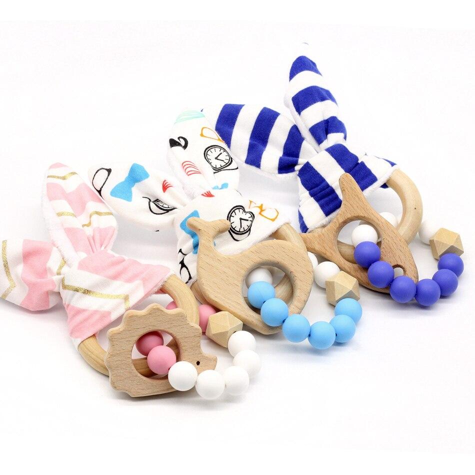 Teething Rings Bunny Ear 1pcs Rabbit Teether Ring For Baby Original Wood Teether Hand Weave  Baby Set of teeth