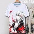 Verão Anime de Tóquio Ghoul Camiseta 2016 Manga Curta Anime novidade Homem Tops 3D Criativo Japonês Tokyo Ghoul Camiseta S-XXXL