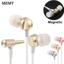 On sale Cute Mini MEMT X5 In Ear Earphones Headset Stereo Earbuds Monitor auriculares Hifi Bass Metal Magnet Earphones fone de ouvido