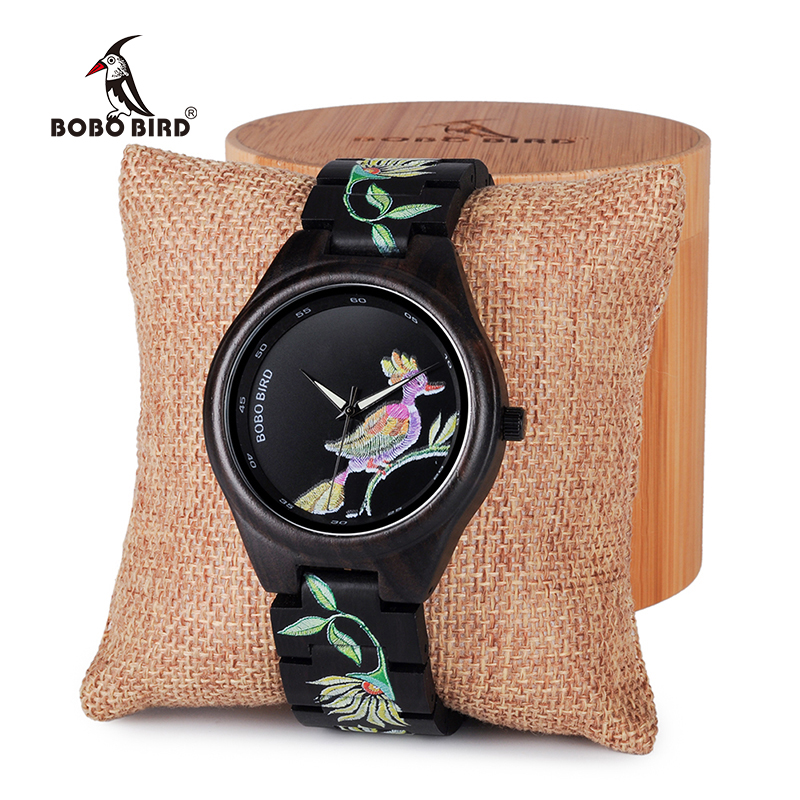 BOBO BIRD Men wooden bamboo Women Watches embroidery style Wood ladies Quartz watch Gift for Girl saat erkek relojes clock bobo bird women wooden bamboo watches ladies quartz watch gift for girl in wood box custom logo