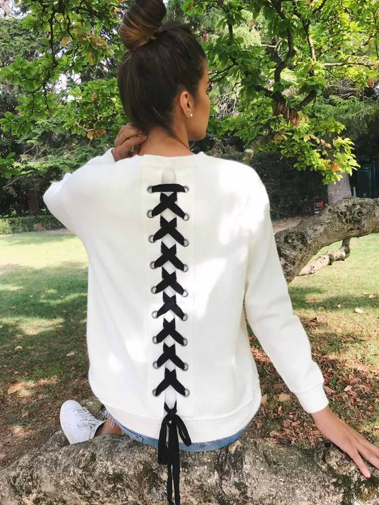 2018 New Arrivals Casual Autumn Winter Solid Color White Gray Black Blue Long Sleeve Back Bandage Women Tops Women T Shirt
