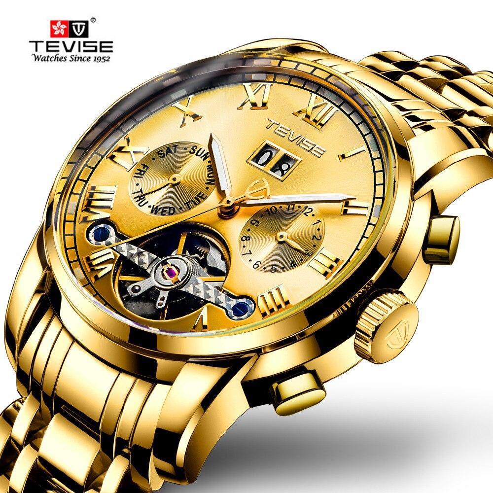 Tevise marca reloj de los hombres de lujo para hombre de acero inoxidable Tourbillon calendario mecánico automático reloj Relogio Masculino TEVISE, relojes automáticos de moda para hombre, relojes mecánicos de acero inoxidable, reloj de lujo para hombre, fase lunar, luminosos, impermeables, nuevo