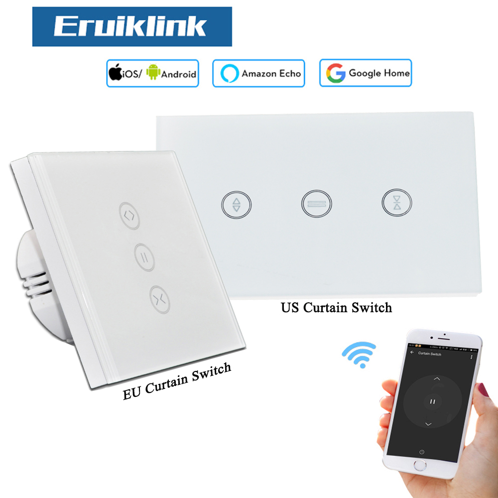 EU/US Wifi touch curtain switch wall switch voice control by Alexa / Google phone control For Electric curtain motor smart homeEU/US Wifi touch curtain switch wall switch voice control by Alexa / Google phone control For Electric curtain motor smart home