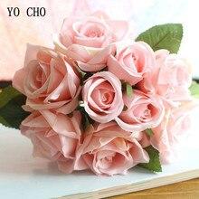 YO CHO Свадебный букет из полиэстера с розами, свадебные цветы, свадебные букеты, искусственные аксессуары для подружек невесты, свадебный букет