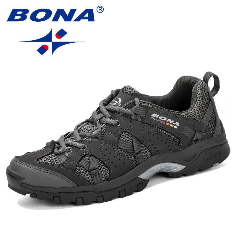 BONA Men Hiking Shoes Lace Up Men Sport Shoes Outdoor Jogging Trekking Sneakers Non-Slip Wear-Resistant Travel Shoes Comfortable