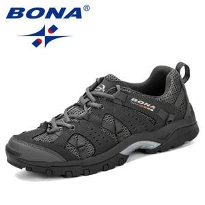 Image 1 - BONA Men Hiking Shoes Lace Up Men Sport Shoes Outdoor Jogging Trekking Sneakers Non Slip Wear Resistant Travel Shoes Comfortable