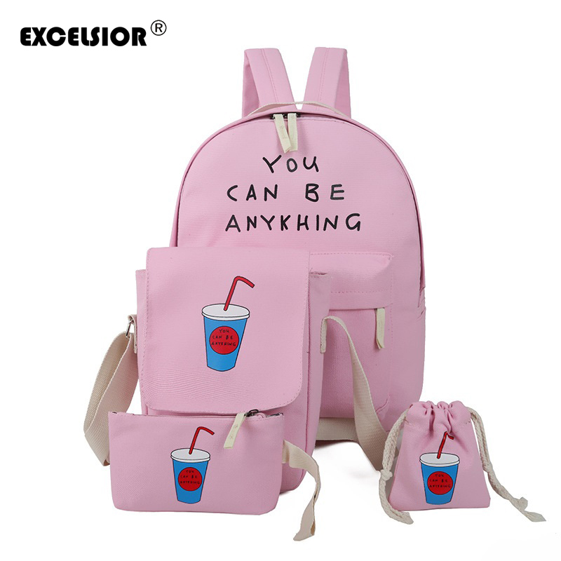 EXCELSIOR 4 Pcs/set Women Backpack Coke Cup School Bags For Teenage Girls Canvas Backpack Female Travel Rucksack Ladies Bag Set canvas backpack women for teenage boys school backpack male