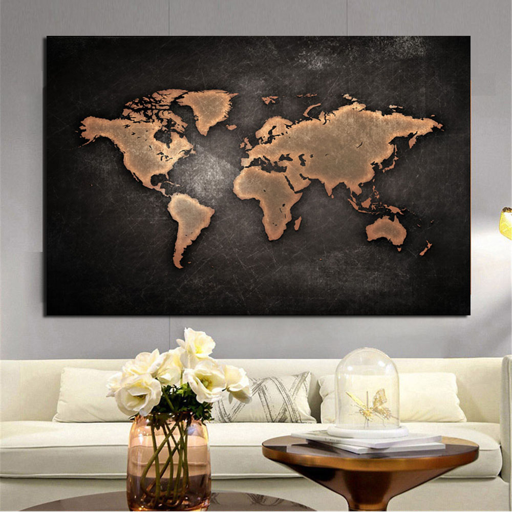 world map canvas painting