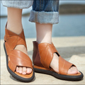Handmade women sandals vintage personality flats loose comfortable genuine leather shoes casual shoes cutout women's shoes