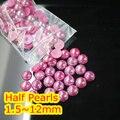 Jalea Rose AB Color de 1.5mm ~ 12mm Todo el Tamaño Bien Escogido de la parte posterior Plana ABS ronda la Media Perla de perlas, imitación plástica de la media perla perlas