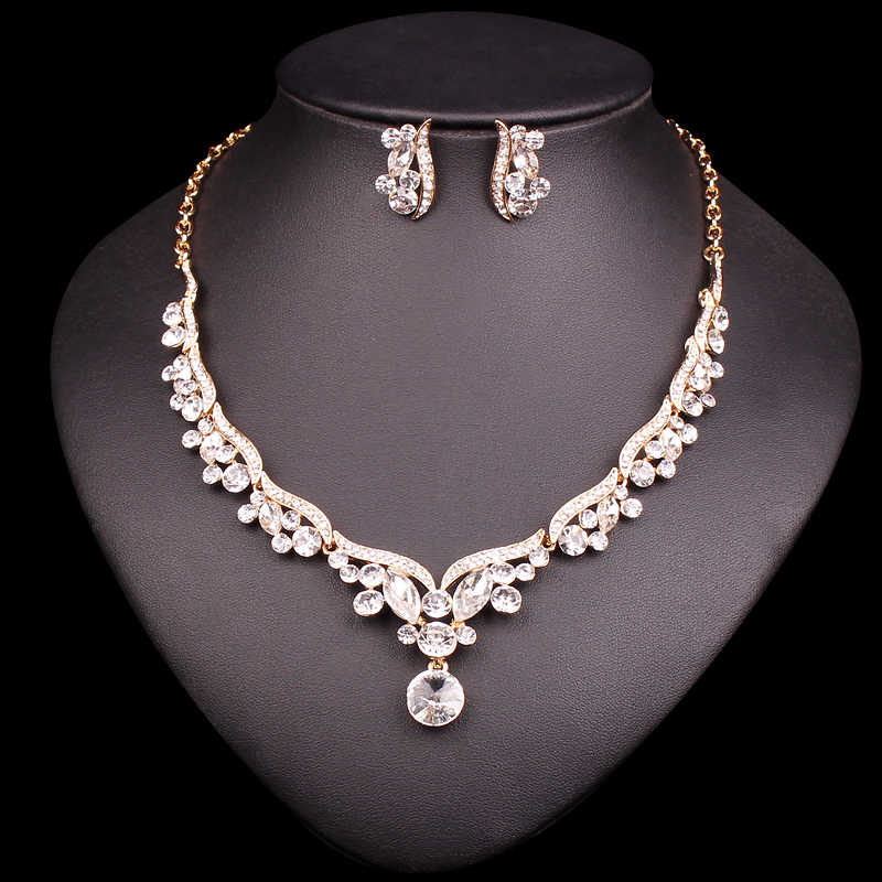 Fashion Gold Color Bridal Jewelry Set for Brides Crystal Necklace Earrings Wedding Party Costume Accessories Gifts for Women