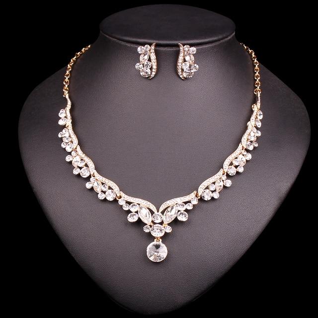 f67a8f4e62ce Conjunto de joyas de novia de Color dorado a la moda para novias collar de  cristal