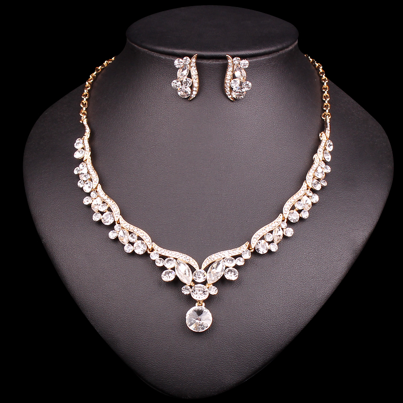 Fashion Gold Color Bridal Jewelry Set for Brides Crystal ...