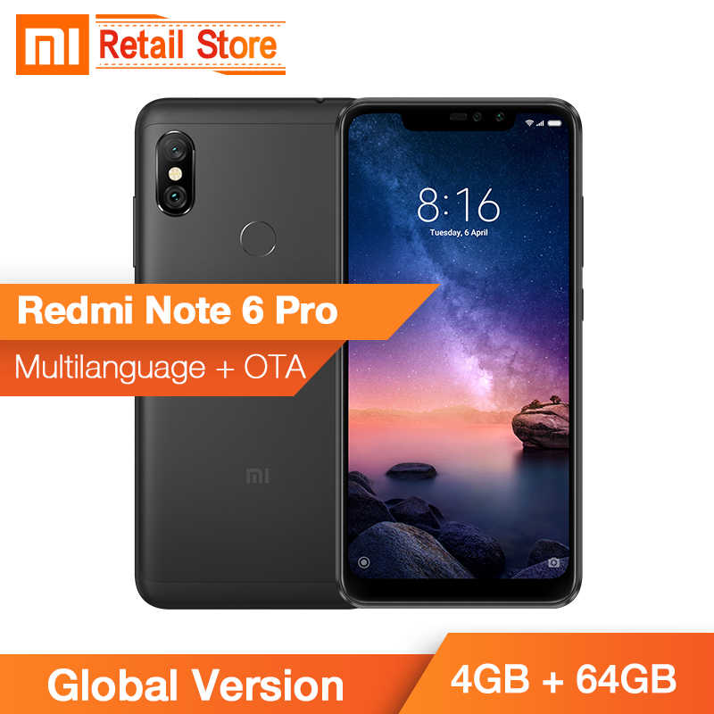 "В наличии Глобальный Версия Xiaomi Redmi Note 6 Pro 4 GB 64 GB Snapdragon 636 Octa Core 6,26 ""Full экран телефона двойной AI Камера"