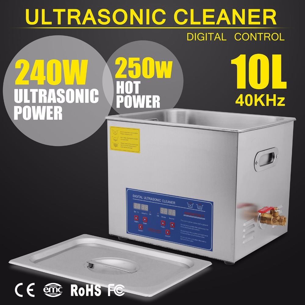 New Powerful Stainless Steel Ultrasonic Cleaner 10L Liter 490W Digital Timer Heater|heater|heater heater|heater timer - title=