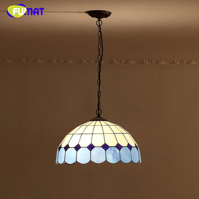 FUMAT Stained Glass Pendant Light Mediterranean Style Blue Glass Shade  Kitchen Living Room Dining Room Bedside