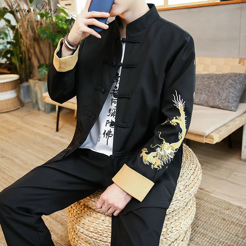 Traditional chinese clothing for men chinese dragon jacket shanghai tang kung fu clothing chinese style clothing