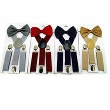 Solid Color Children Belt Bowtie Set Baby Boys Girls Suspenders Clip-on Y-Back Braces Bow Tie Elastic Kid Adjustable Bow Tie Set