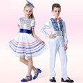 Новый Год Европа Стиль детский Хор Костюмы Мальчики Боути Джентльмен Одежда Набор Девушки Блестками Латинской Танец Костюм Свободный корабль