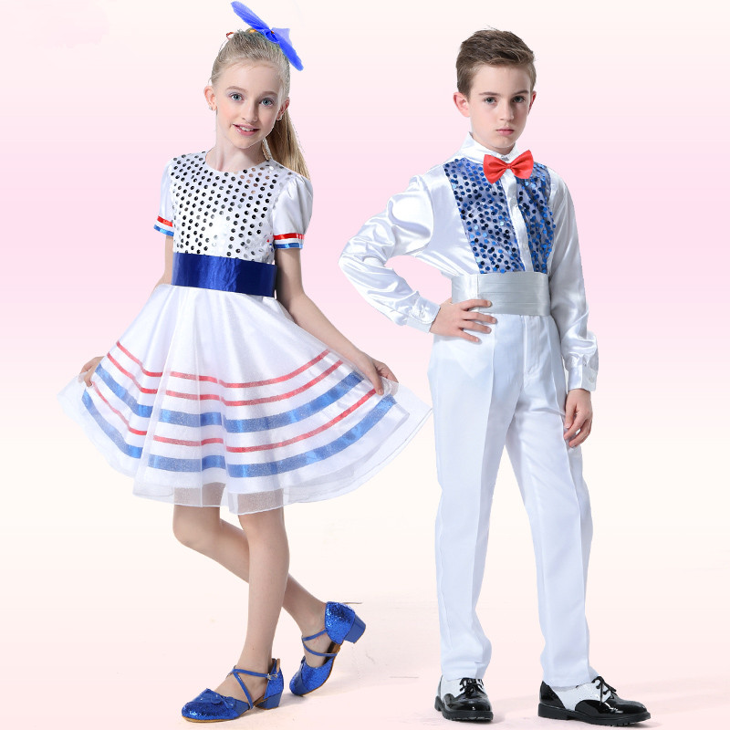 New Year Europe Style Children's Chorus Suits Boys Bowtie Gentleman Clothes Set Girls Sequined Latin Dance Costume Free ship 2017 new style europe