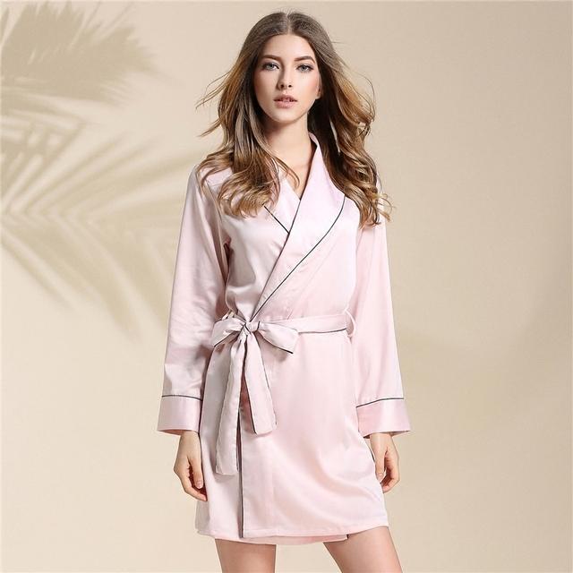 Señora Albornoz Bata De Seda De Mujer Verano Mujer Pijama de Seda de Hielo Se Código de Casa Tienen Otoño E Invierno Sección Delgada