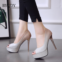 BYQDY 2019 Autumn Fashion Shoes Women Heels Spring Platform Champagne Peep Toe Sliver Buckle Dress Pumps Stilettos