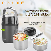 Hot Pinkah 1600ml 3-layer Vacuum Insulated Lunch Box Household Food Insulation Tank Large Capacity 304 Stainless Steel Lunch Box dfh k8 pluggable insulation heating lunch box three layers hot rice cooker cooking electric 304 stainless steel lunch box