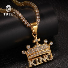 TBTK New Crown KING Statement Pendant Paved Bling Crystal Rhinestones Trendy Retro Punk Style Jewelry Gold/Silver Necklace Men