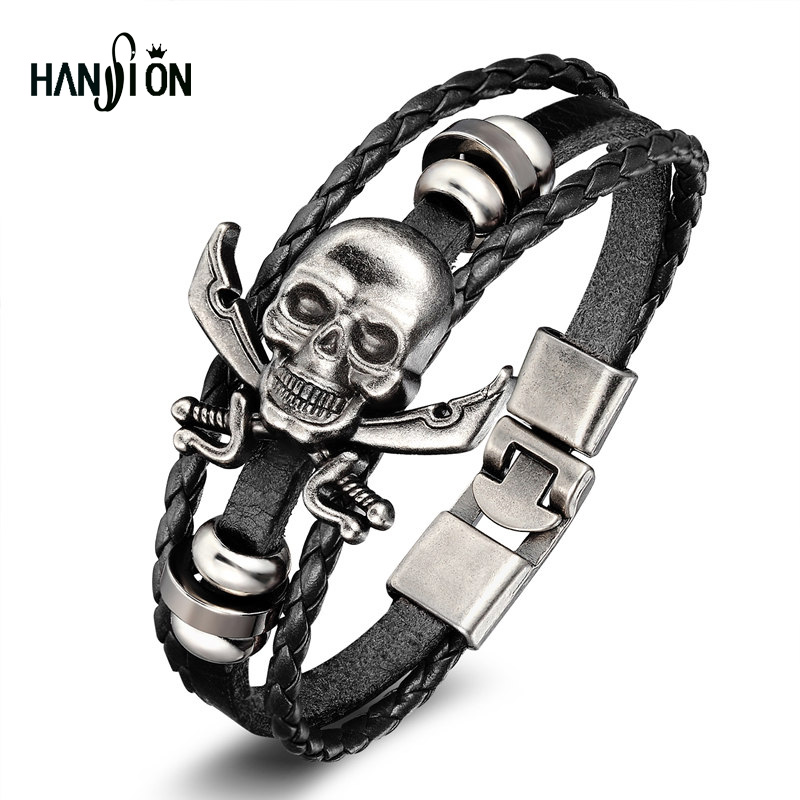 XiongHang Vintage Design Cuff Bracelet Men Fashion Popular Beaded Wax Skull Rope Bangles & Bracelet Leather Jewelry