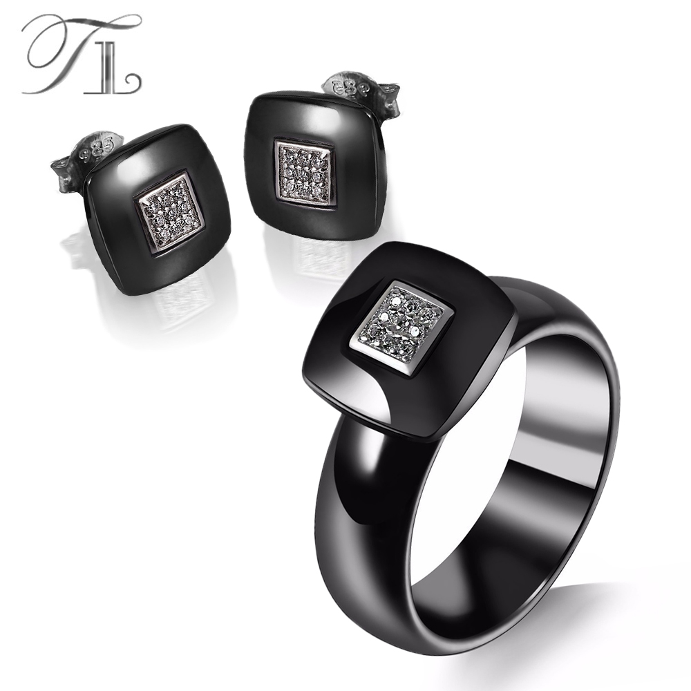 TL Black Ceramic Earrings&Rings Jewelry Sets Square Base Inlaid AA CZ Cute Luxury Wedding Jewelry Set For Women Anniversary Gift pair of cute circle rhinestone inlaid earrings for women