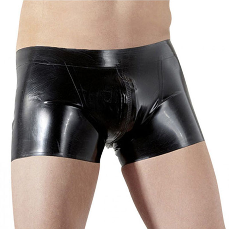Sexy Lingerie Exotic Pants Man Leather Boxer Trunk Underwear Shorts Sexy Lingerie Gay Men's Pants Sexy Zipper Gay Clubwear Pants
