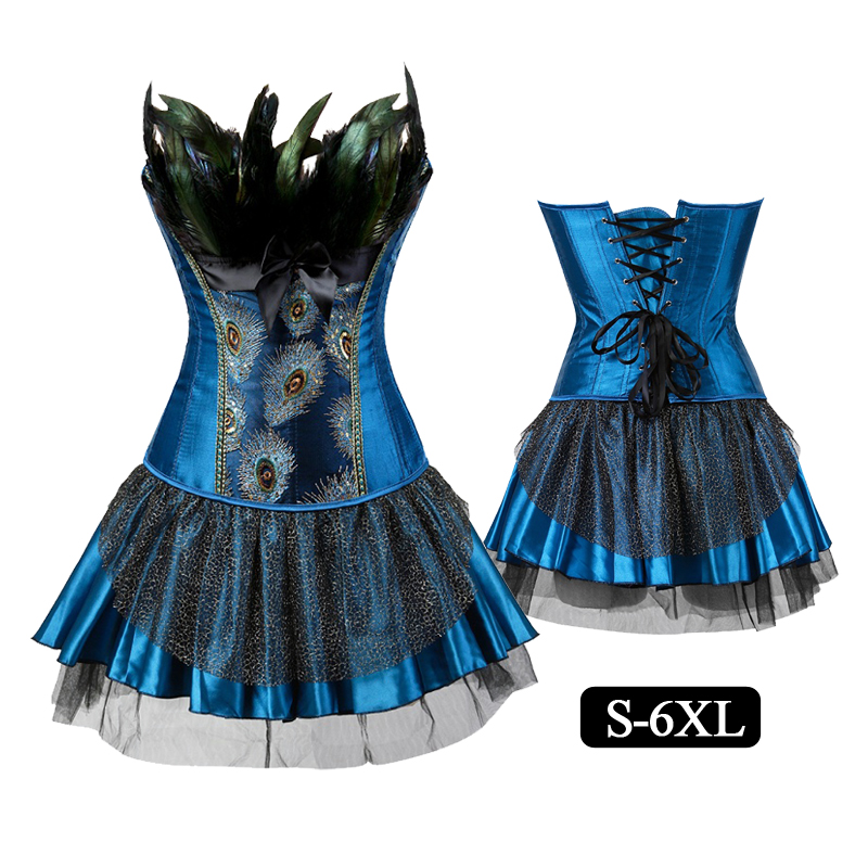 Sexy Halloween Feathers Lace   Corsets   and   Bustiers   Goth Vintage Style Overbust   Corset     Bustier   Dress Skirt Corselet Plus Size 6xl