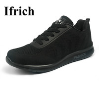 Ifrich Men Sport Shoes Comfortable Men Run Barefoot Sport Breathable Male Running Shoes Black Running Sneakers