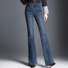 2018 New Women Boot Cut Jeans Long Stretch Blue Wide Leg Zipper Washed Retro Trousers For Autumn Winter Flare Jeans Big Size(China)