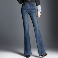 2018 New Women Boot Cut Jeans Long Stretch Blue Wide Leg Zipper Washed Retro Trousers For Autumn Winter Flare Jeans Big Size