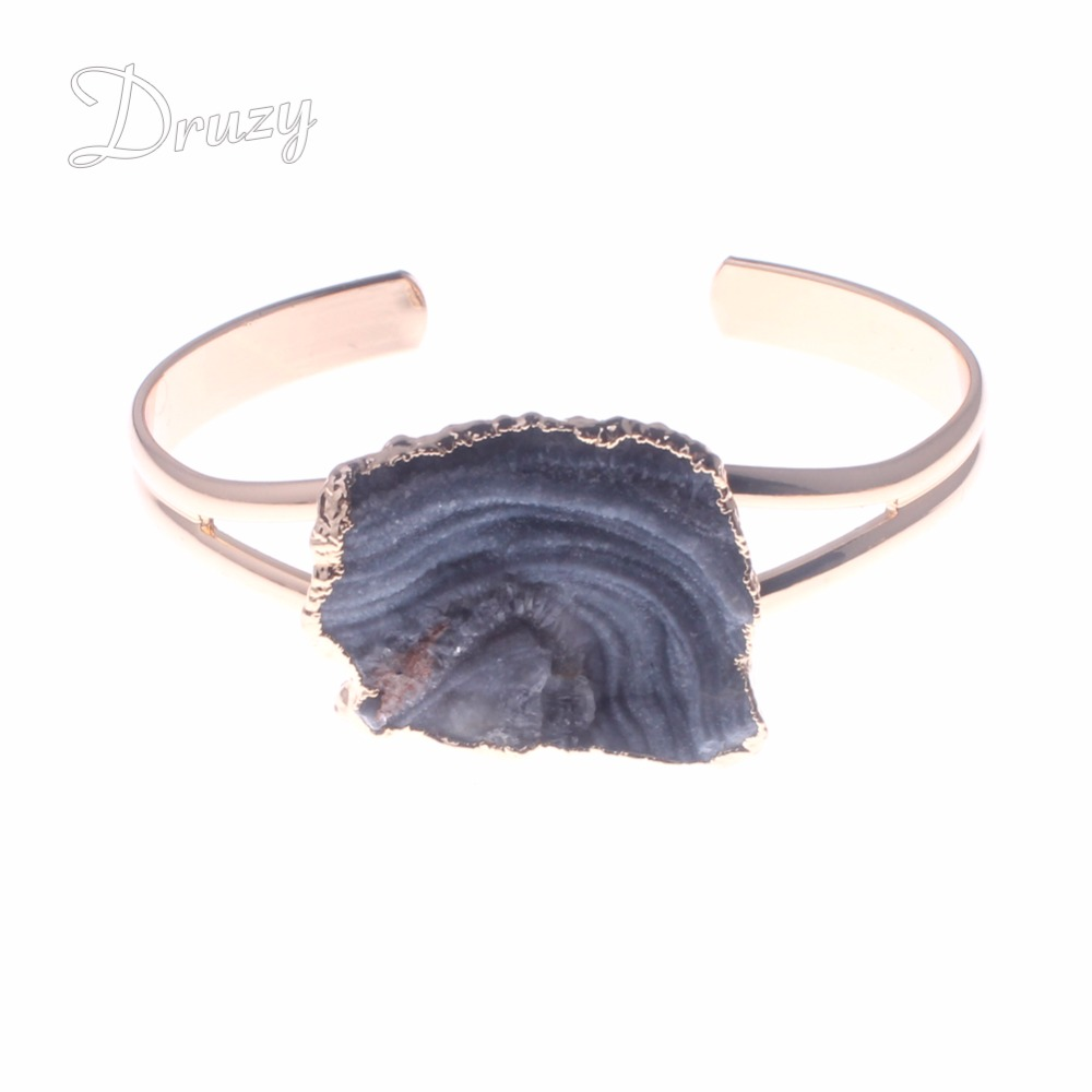 Druzy gem pedra semi preciosa grânulos pulseira unisex inspirado aberto manguito pulseiras natural via láctea pedra cristal ouro cor pulseira
