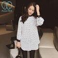 1607 # polka dot impreso camisa de maternidad 2016 nueva primavera de corea del arco de onda blusa ropa para mujeres embarazadas embarazo clothing