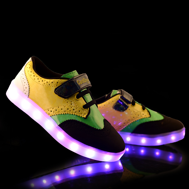 New Autumn Fashion Children Shoes With Light Up Kids Casual Boys&Girls Luminous Sneakers  Hot Selling Size 31-35